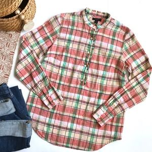 J. Crew ruffle popover long sleeve in melon plaid